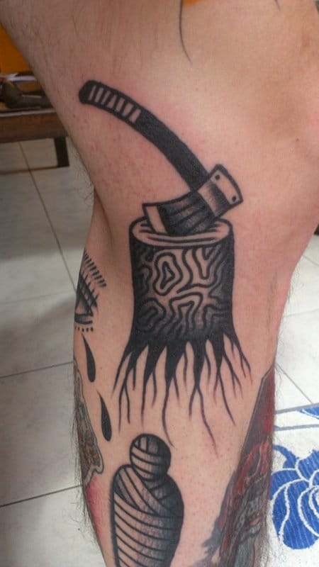 Tree Stump Tattoo by Last Sparrow Tattoo