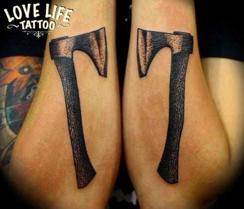 Woodcutter Axe Tattoo by Love Life Tattoo