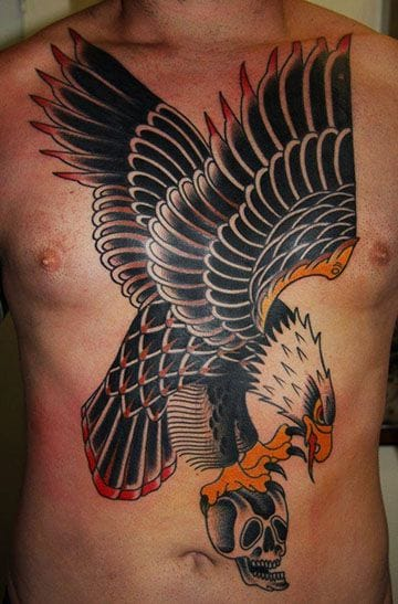 Awesome front piece tattoo by Ben Rorke.
