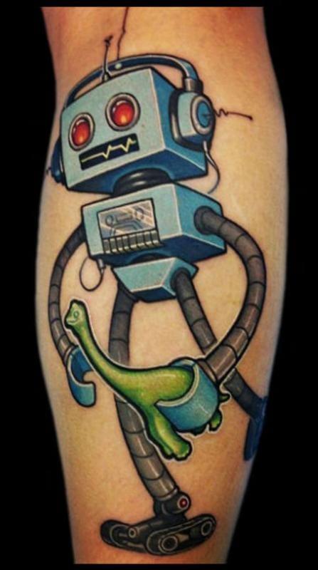 Um robô com seu dinossauro de brinquedo