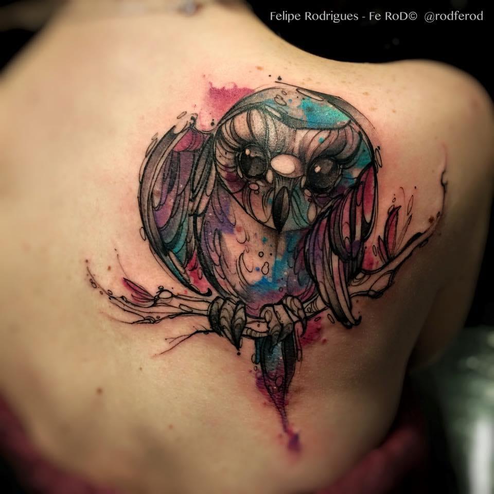 Magnífica coruja aquarelada que só Fe RoD sabe fazer!