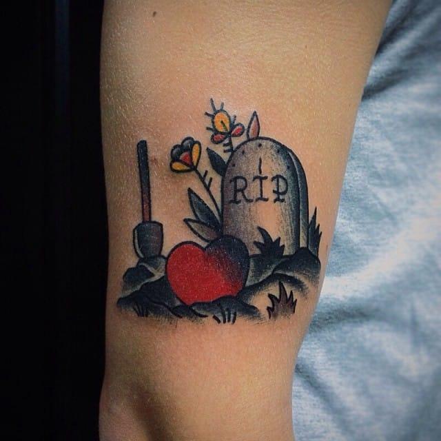 Great Headstone Heart Tattoo, unknown artist