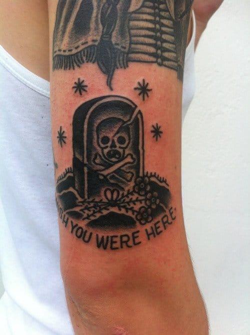 Skull Headstone Tattoo by Simon Erl