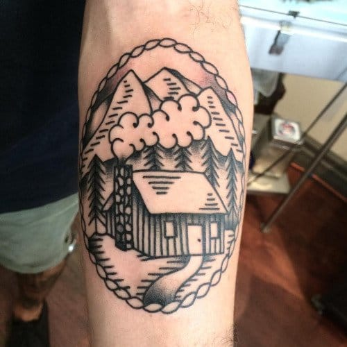 22 log cabin tattoos to give you that rustic feeling tattoodo. Black Bedroom Furniture Sets. Home Design Ideas