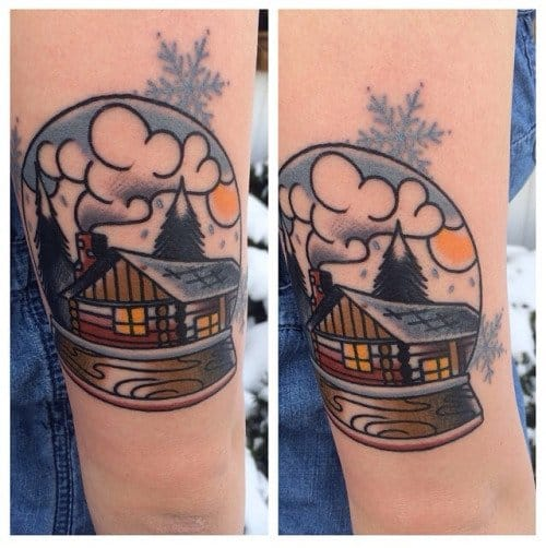Awesome Cabin Snow Globe Tattoo by Jacob Des