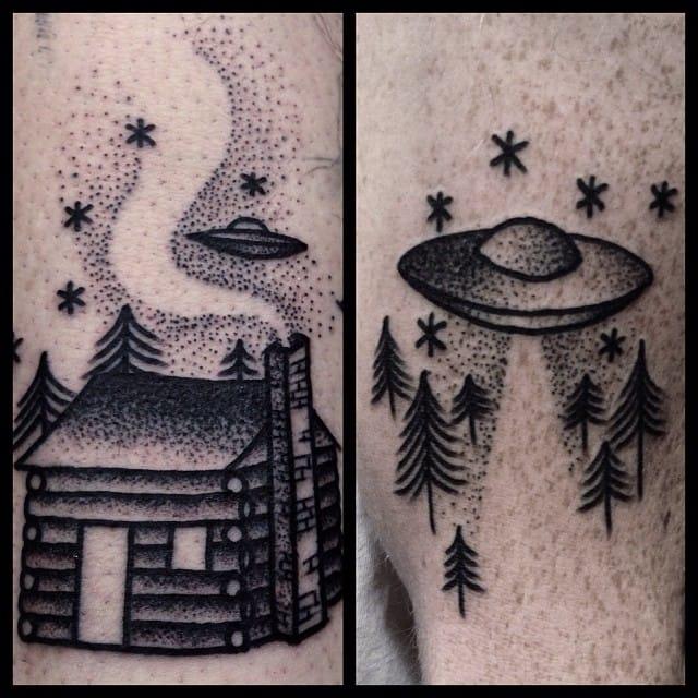 Log cabin tattoo