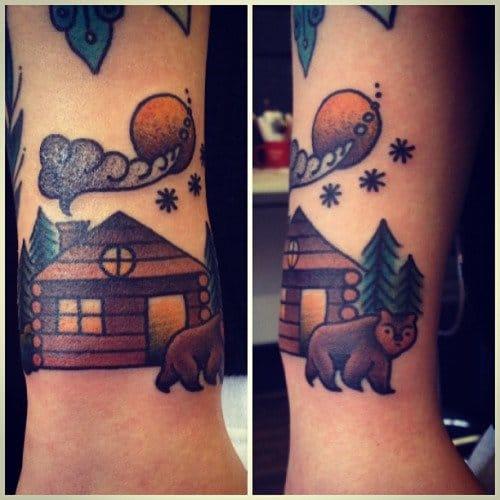 Brilliant Log Cabin Bear Tattoo by Jemma Jones