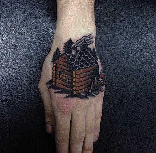 Bold Log Cabin Tattoo by Gusak Tattoo