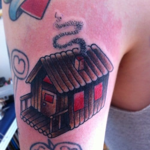Log Cabin Tattoo by Harriet Heath