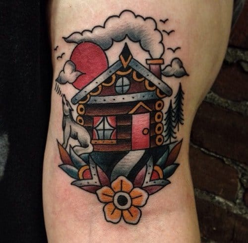 Log Cabin Tattoo by Matthew Houston