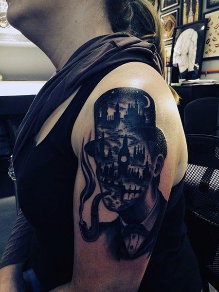 Fun Sherlock Holmes tattoo by Joel Thompson.