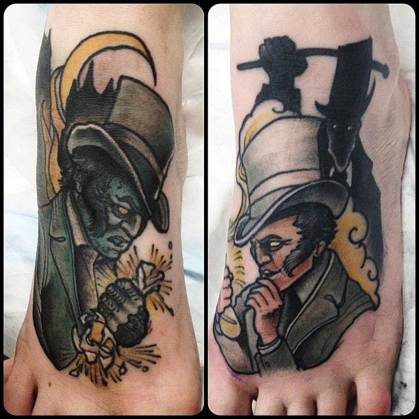 Dr Jekyll and Mister Hyde feet tats by Daniel Formentin.