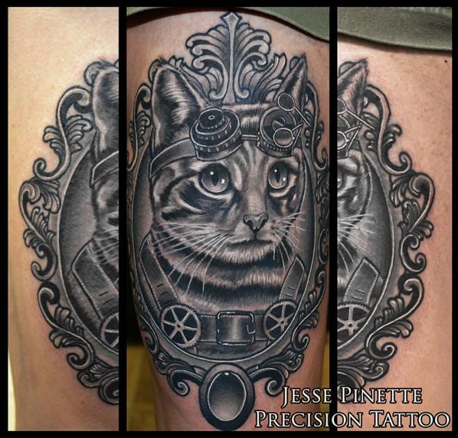 Cute steampunk cat by Jesse Pinette !
