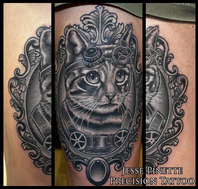 Cute steampunk cat by Jesse Pinette !
