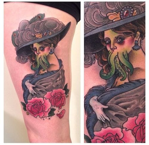Lovecraft's inspired Victorian lady by Josh Ross : weird but great !
