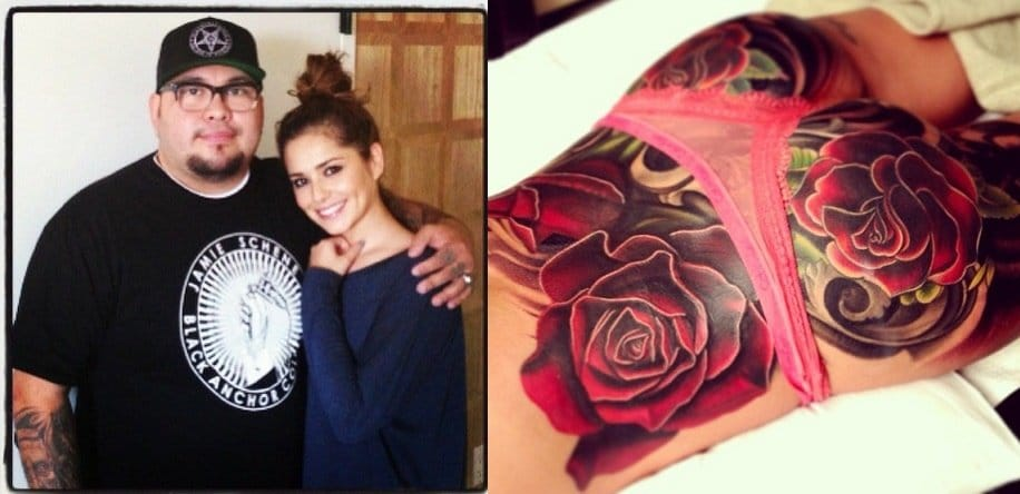 Nikko Hurtado helped Cheryl Cole covering a bad tattoo with bold roses.