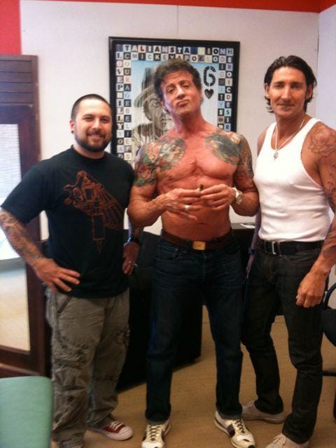 The actor also worked with Jeff Gogue and David Hell on his backpiece.
