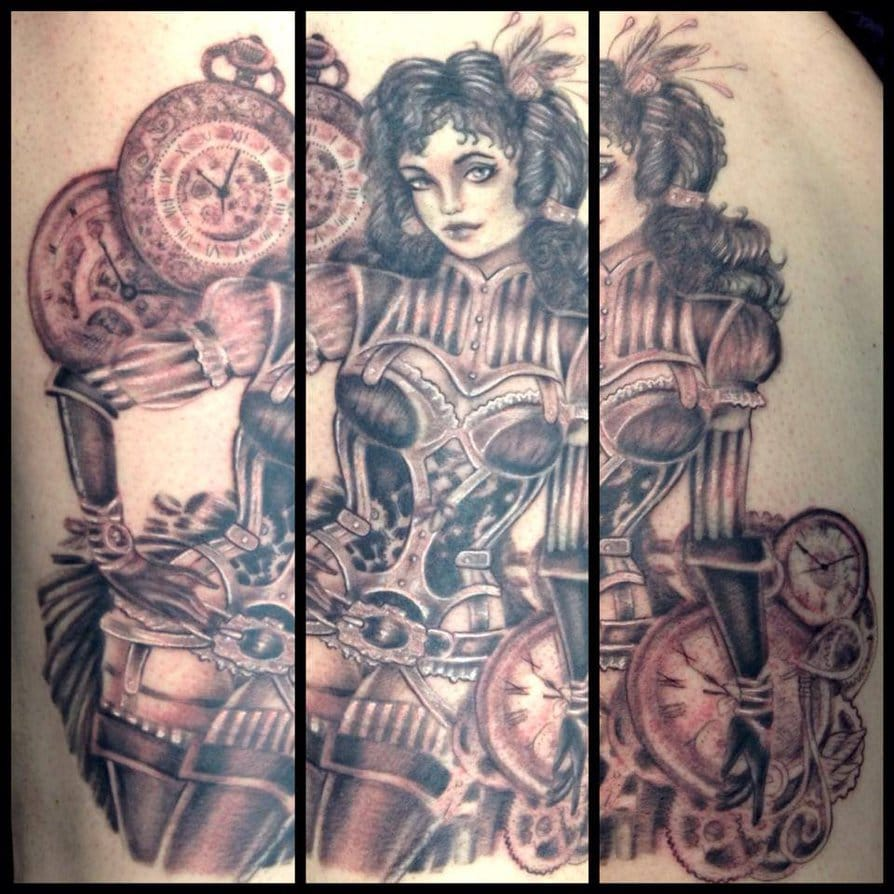 Steampunk pin-up by Isabelle Vannucci at True Colour Tattoos in Glasgow, United Kingdom