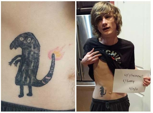 It's shitty, yes. Despite the fact that he got us with his Pokémon and Tim Burton reference, he still go tattooed while absolutely shitfaced. Read his story here.