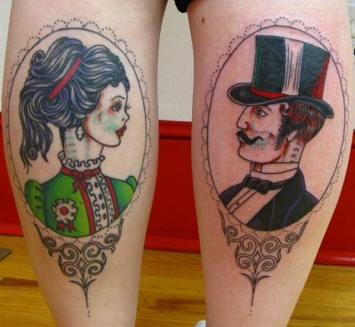 Nice thigh tattoos of Victorian zombies by Sunny Buick.