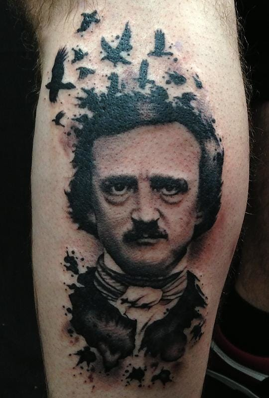 Another Edgar Poe tattoo by Vinny Romanelli.