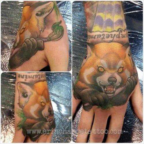 Red Panda Hand Tattoo by Eric Chance Tattoo