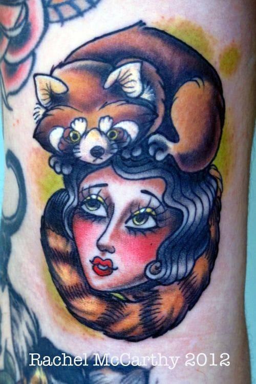 Red Panda Woman Tattoo by Rachel McCarthy
