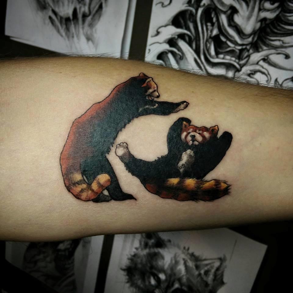Fighting Pandas by Chronic Ink Tattoo