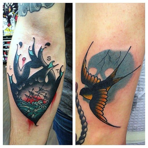 22 distinguished sinking ship tattoos tattoodo for Sinking ship tattoo
