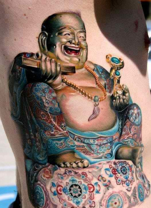 Lovely attention to detail! Buddha tattoo, artist unknown. #buddha