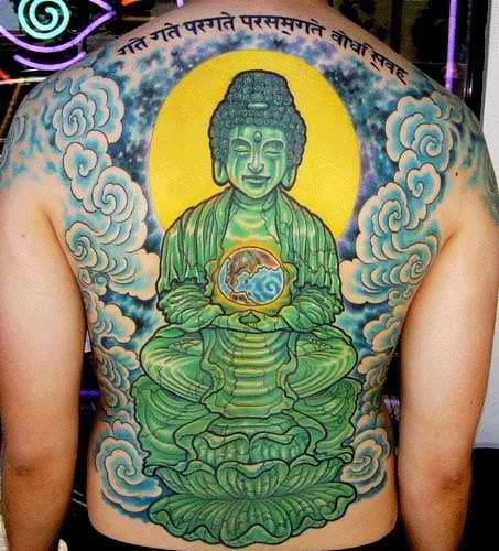 And this one's lookin' like a real Jade! Beautiful shading techniques & choice of colors. Awesome Buddha tattoo. #buddha