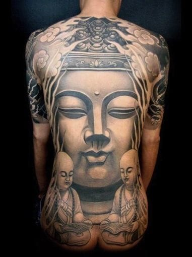 An enlarged and zoomed in image of Buddha brings a lot of visual impact as well. Cropping & placement is key. Don't be afraid to go for it! Beautiful Buddha tattoo #buddha