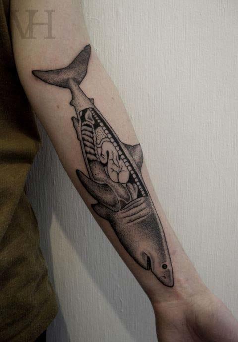Graphic dotwork piece by Valentin Hirsh. @valentinhirsh #shark #sharktattoo