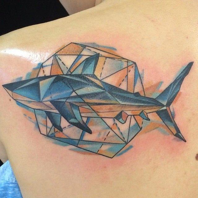 Geometric tattoo (unknown artist). #shark #sharktattoo  #geometrictattoo
