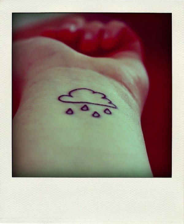 cloud and raindrops tattoo