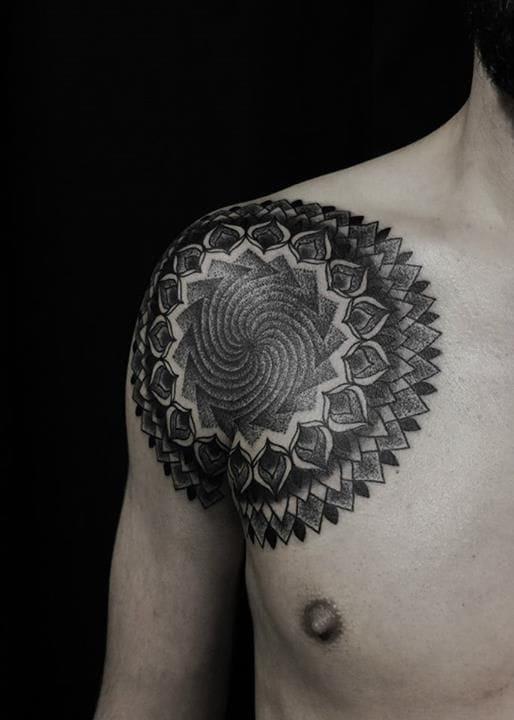 Mandala style by Alex Arnautov. #alexarnautov #mandala #shoulder #shouldertattoo