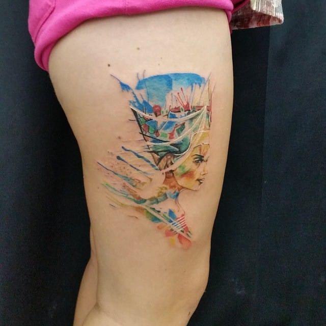 Watercolor Nefertiti by Ali Baba Tattoo.