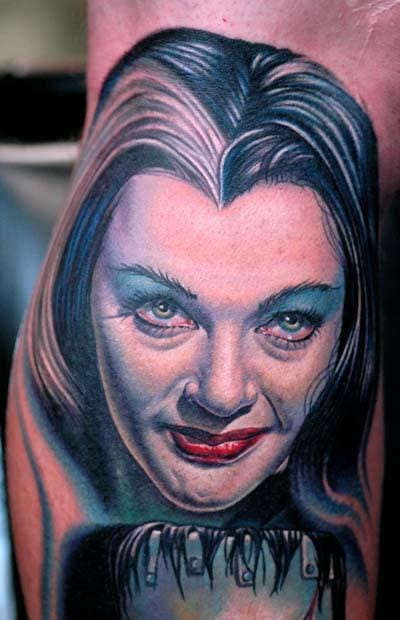 Nikko Hurtado created this Lily Munster tattoo