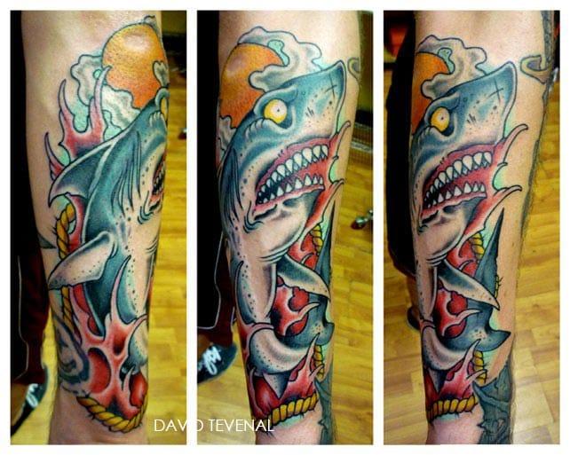 New school fun by David Tevenal. #davidtevenal #shark #sharktattoo
