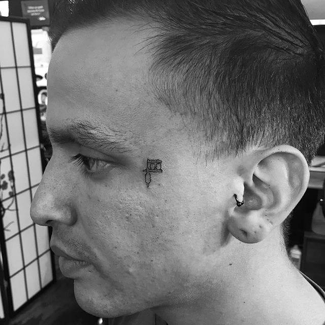 tattoo machine minimalistic micro tattoo by Jon Boy