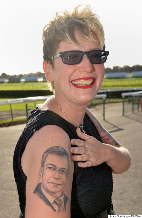 Kerrie Webb showing off her Nigel Farage Tattoo