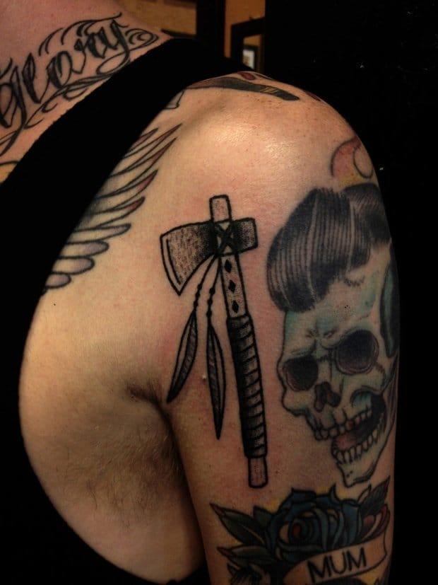 Cool Tomahawk Tattoo by Jenna Bouma