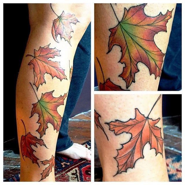 Shades of green in this leaf, via @johnsonlallytattoo