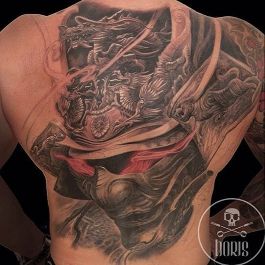 Fantastic Samurai Dragon Mask Tattoo by Boris Tattoo