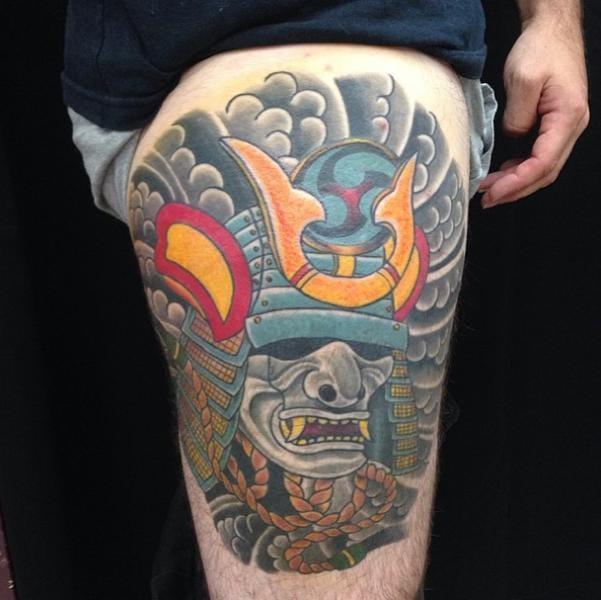 Bold Samurai Helmet Tattoo by Devils Ink Tattoo