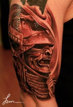 Awesome Samurai Helmet Tattoo by Jun Cha
