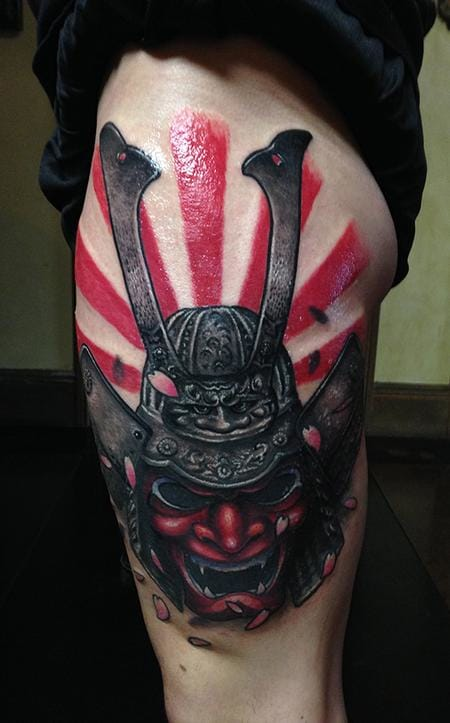 Samurai Helmet Tattoo by Rising Sun Tattoos