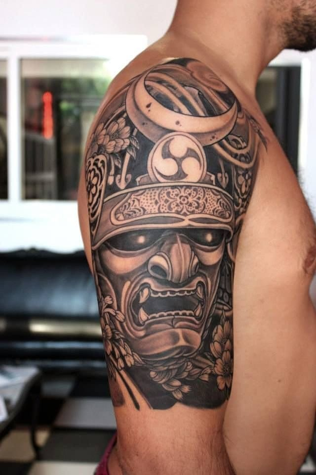 Samurai helmet tattoo