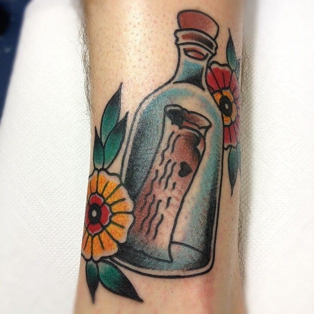 Message in a bottle tattoo