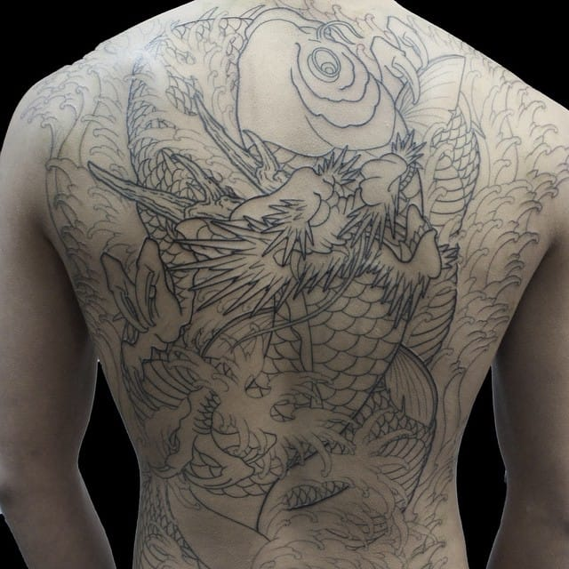 Shin koi dragon outline, Japanese style handpoke tattoo by Shin